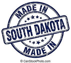 made in South Dakota blue grunge round stamp