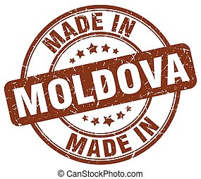 made in Moldova brown grunge round stamp