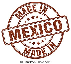 made in Mexico brown grunge round stamp