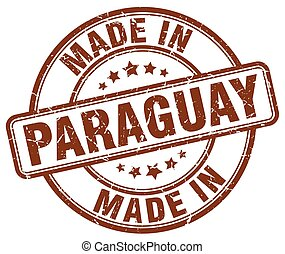 made in Paraguay brown grunge round stamp