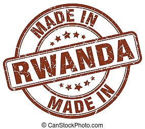 made in Rwanda brown grunge round stamp