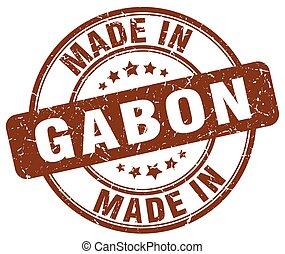 made in Gabon brown grunge round stamp