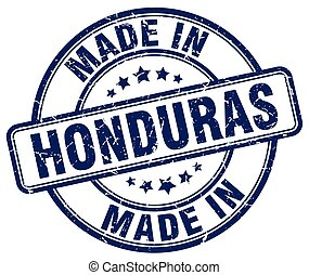 made in Honduras blue grunge round stamp