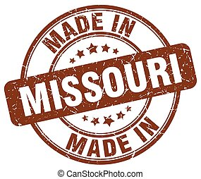 made in Missouri brown grunge round stamp