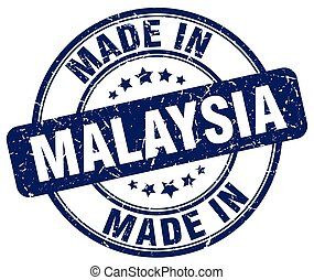 made in Malaysia blue grunge round stamp