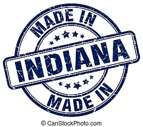 made in Indiana blue grunge round stamp
