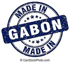 made in Gabon blue grunge round stamp