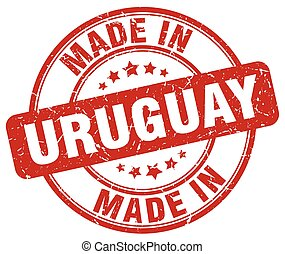 made in Uruguay red grunge round stamp