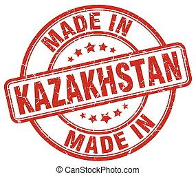 made in Kazakhstan red grunge round stamp