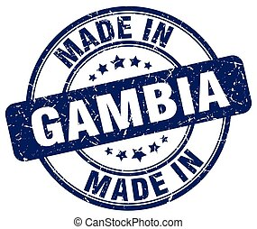 made in Gambia blue grunge round stamp