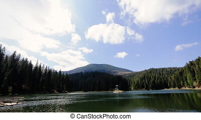 Summer mountain lake Sinevir in the Carpathian mountains.