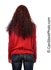 back view of young woman