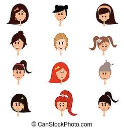 Set of woman cartoon faces