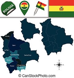 Map of Bolivia - Vector map of Bolivia with named divisions...