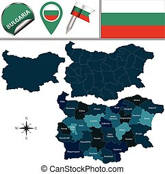 Map of Bulgaria with named provinces - Vector map of...