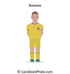 Football kit Romania soccer player form Vector illustration...