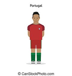 Football kit Portugal soccer player form Vector illustration...