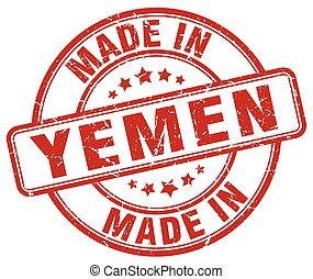made in Yemen red grunge round stamp
