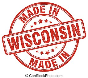 made in Wisconsin red grunge round stamp