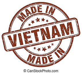 made in Vietnam brown grunge round stamp