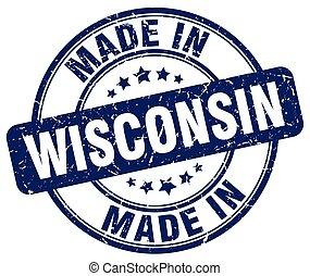 made in Wisconsin blue grunge round stamp