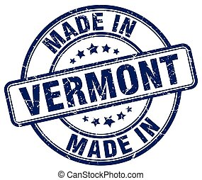 made in Vermont blue grunge round stamp