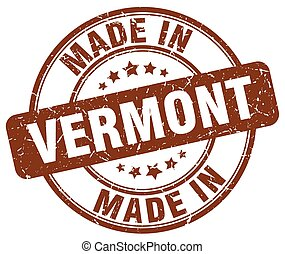 made in Vermont brown grunge round stamp
