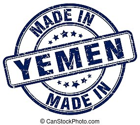 made in Yemen blue grunge round stamp