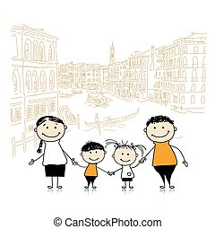 Happy family traveling in Venice Sketch for your design...