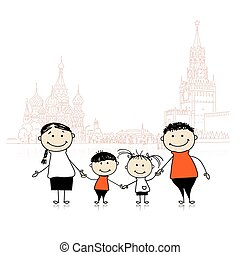 Happy family traveling in Moscow. Sketch for your design....