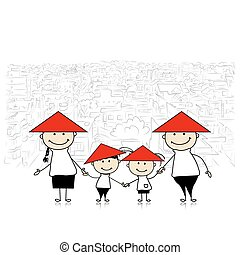 Happy family traveling in Asia. Sketch for your design....