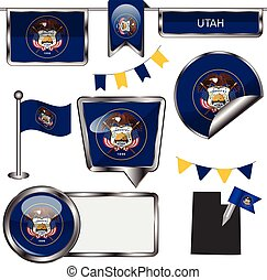 Glossy icons with flag of state Utah - Vector glossy icons...