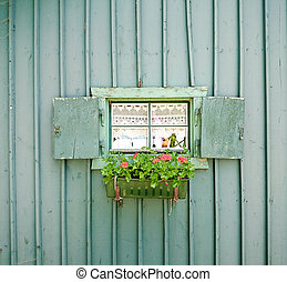 Small window with flowers vintage style