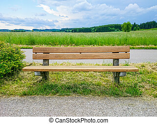 Empty wooden bench on green meadows - Empty wooden bench...