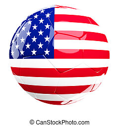 usa soccer ball - usa soccer 3d ball isolated on white...