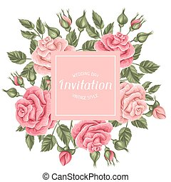 Invitation card with vintage roses. Decorative retro flowers. Image for wedding invitations, romantic cards, posters