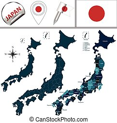 Map of Japan with named prefectures - Vector map of Japan...