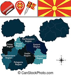 Map of Macedonia with statistical regions - Vector map of...