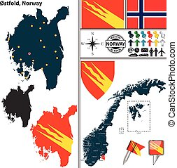 Map of Ostfold, Norway - Vector map of county Ostfold with...