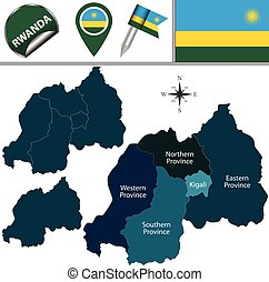 Map of Rwanda with named provinces - Vector map of Rwanda...