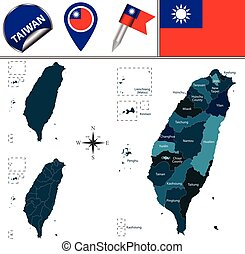 Map of Taiwan with named divisions - Vector map of Taiwan...