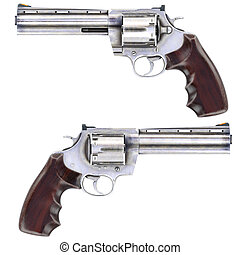 Revolvers isolated on white background 3D illustration
