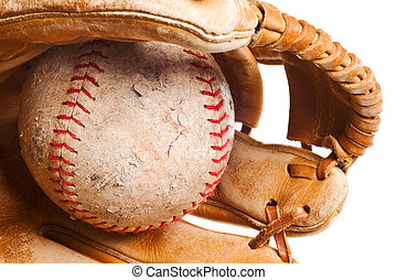 softball in mitt isolated on white background
