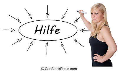 Hilfe - german word for help - young businesswoman drawing...