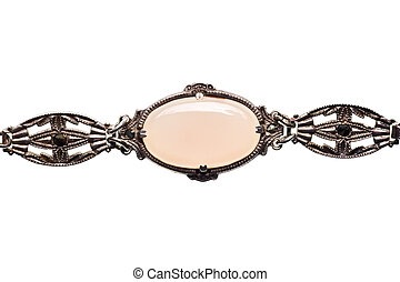 vintage moonstone necklace detail isolated on white
