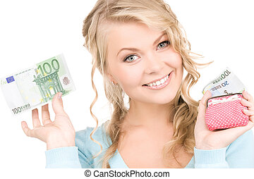 lovely woman with purse and money - picture of lovely woman...