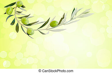 Five green ripe olives on branch, blurred background