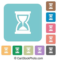 Flat hourglass icons on rounded square color backgrounds