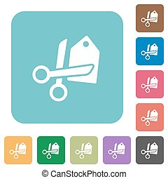 Flat price cut icons on rounded square color backgrounds