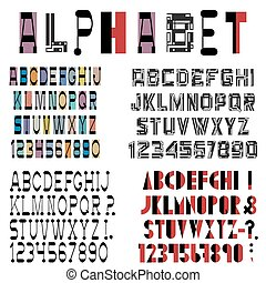 Four fonts, numbers and punctuation mark. Vector set